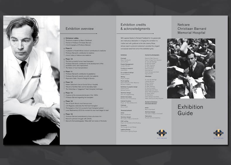 Guide to exhibition at Netcare Christiaan Barnard Memorial Hospital